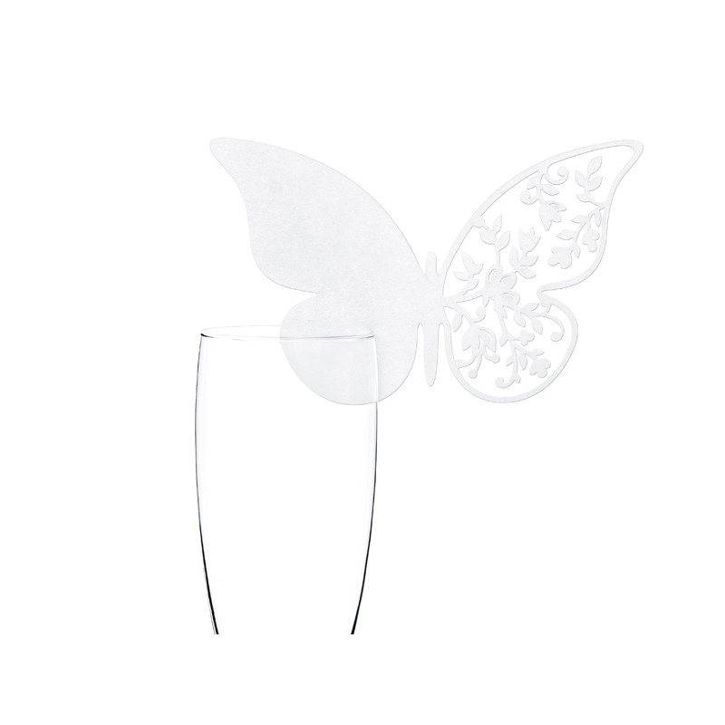 Billede af 10 stk. Hvide sommerfugl bordkort med blomster mønster.