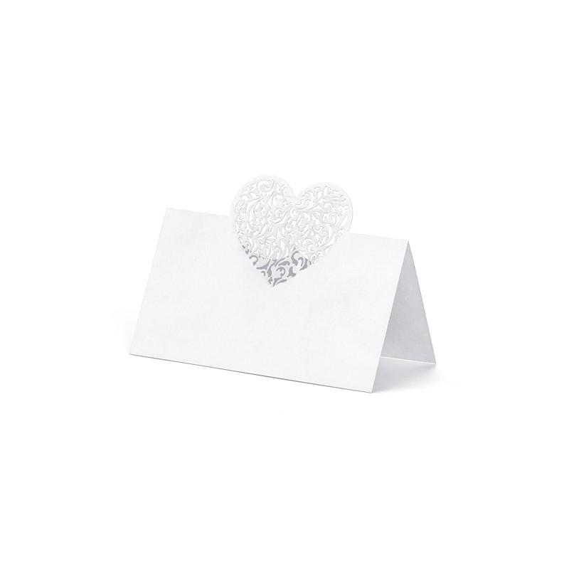 10 stk. Hvide filigranhjerte  bordkort.