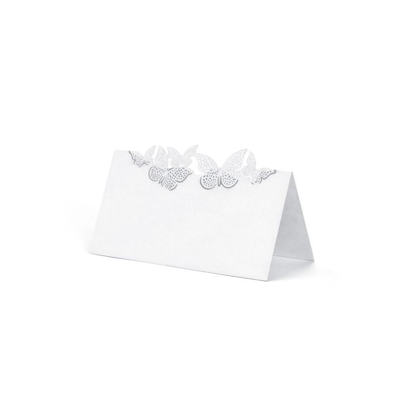 10 stk. Hvide bordkort med sommerfugle.