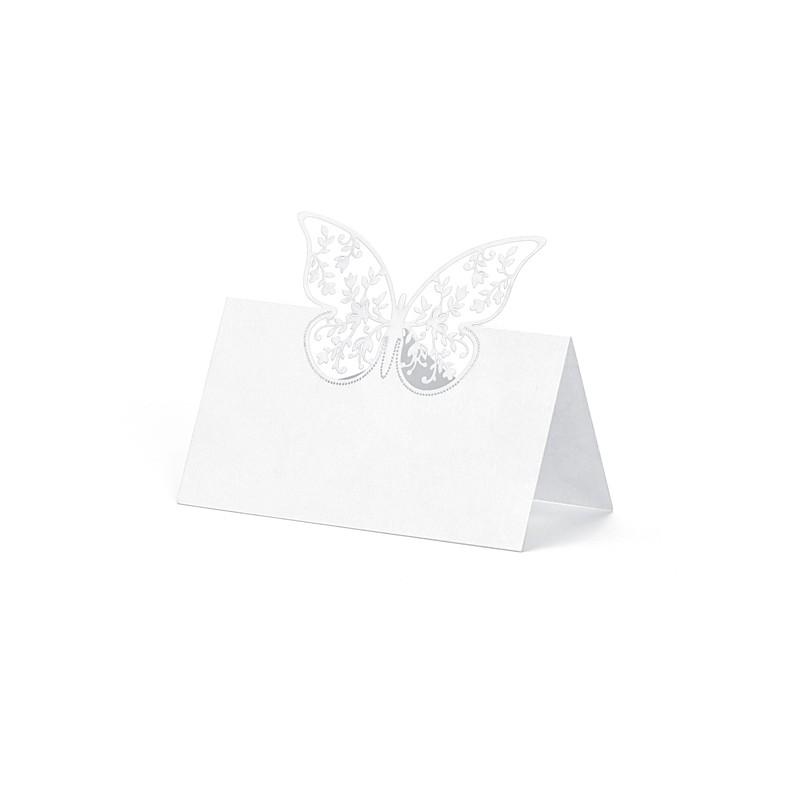 10 stk. Hvide bordkort med filigran sommerfugl.