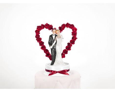 Bryllupsfigur Med røde roser på hjerte 16 cm