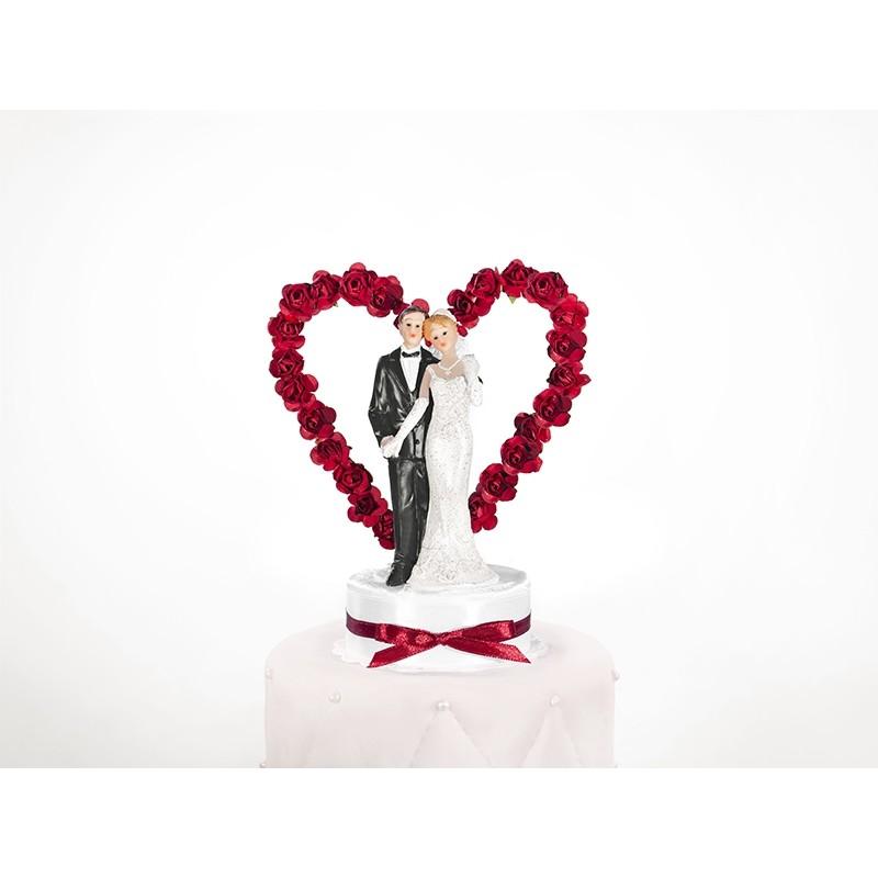 Image of   Bryllupsfigur røde roser på hjerte 16 cm