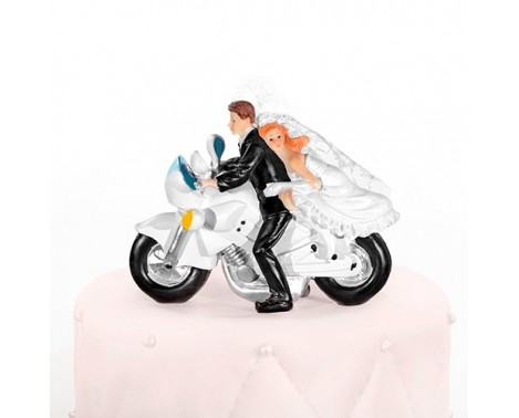 Brudepar på motorcykel Bryllupsfigur 11,6 cm