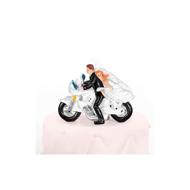 Image of   Brudepar på motorcykel 11,6 cm