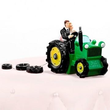Brudepar Grøn traktor Bryllupsfigur 11 cm
