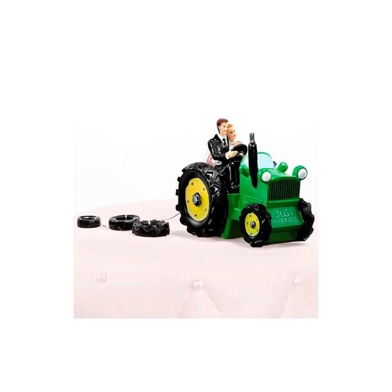 Image of   Brudepar grøn traktor bryllupsfigur 11 cm