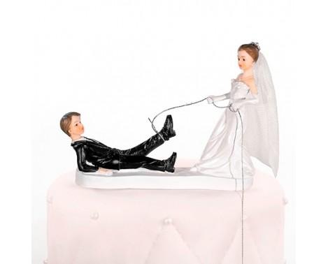 Bryllupsfigur Brud har fanget gom 13 cm