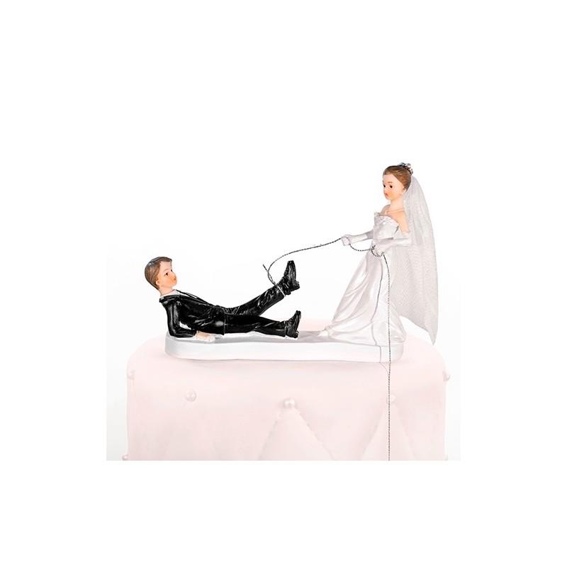 Image of   Bryllupsfigur brud har fanget gom 13 cm
