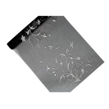 Organza i sort med sølvfarvet dekoration 0,36 x 9 meter.