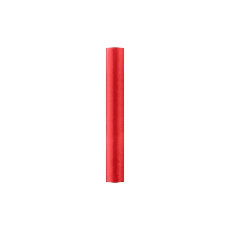 Satin stof i Rød - 0,36 x 9 meter