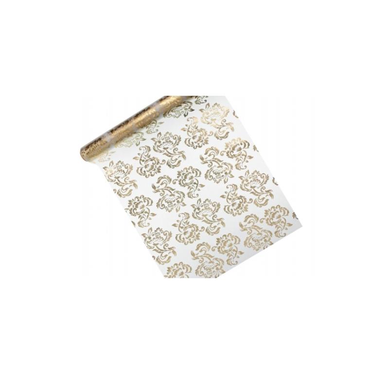 Organza Guld tryk på side 1 - Sølv på side 2 - 0,36 x 9 meter.