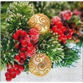 20 stk Juleservietter med julepynt