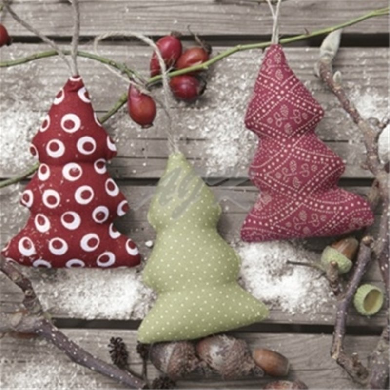 20 stk Juleservietter med stof juletræer