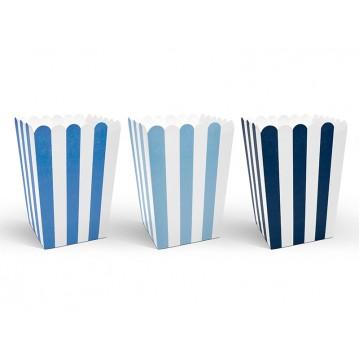 Popcornbokse blå/hvid Little Plane 6 stk