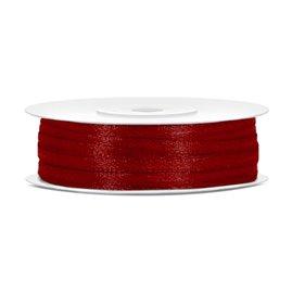 Satinbånd 3mm x 50m Mørk rød - Glat silkelook