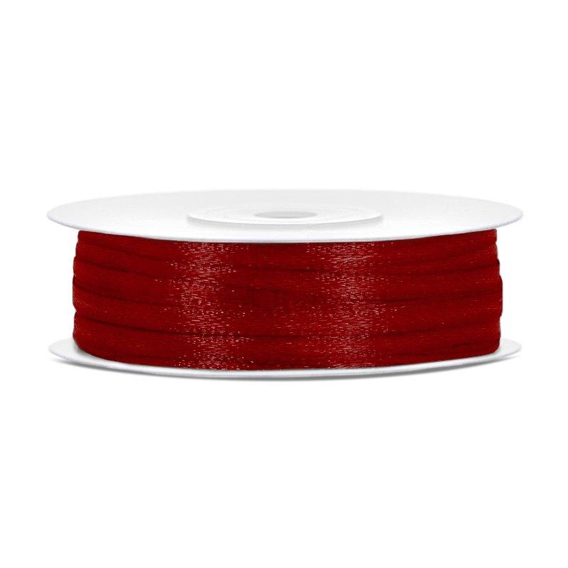 Billede af Satinbånd 3mm x 50m Mørk rød - Glat silkelook