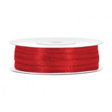 Satinbånd 3mm x 50m Rød - Glat silkelook