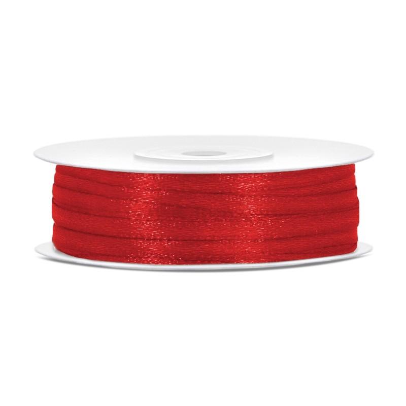Billede af Satinbånd 3mm x 50m Rød - Glat silkelook