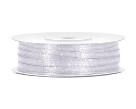 Satinbånd 3mm x 50m Hvid - Glat silkelook
