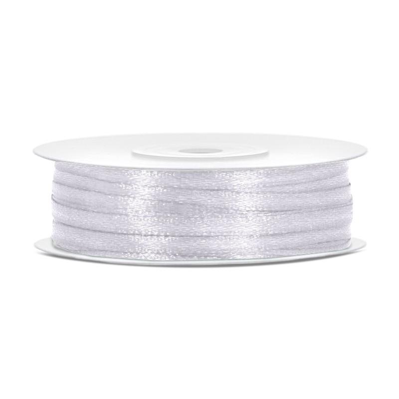 Billede af Satinbånd 3mm x 50m Hvid - Glat silkelook