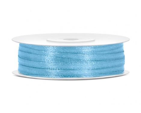 Satinbånd 3mm x 50m Himmelblå - Glat silkelook