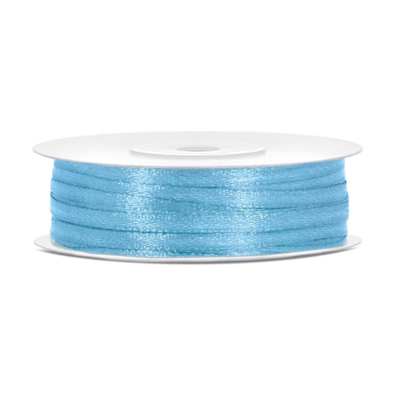 Billede af Satinbånd 3mm x 50m Himmelblå - Glat silkelook