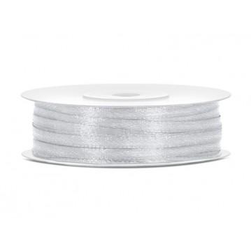 Satinbånd 3mm x 50m Sølv - Glat silkelook