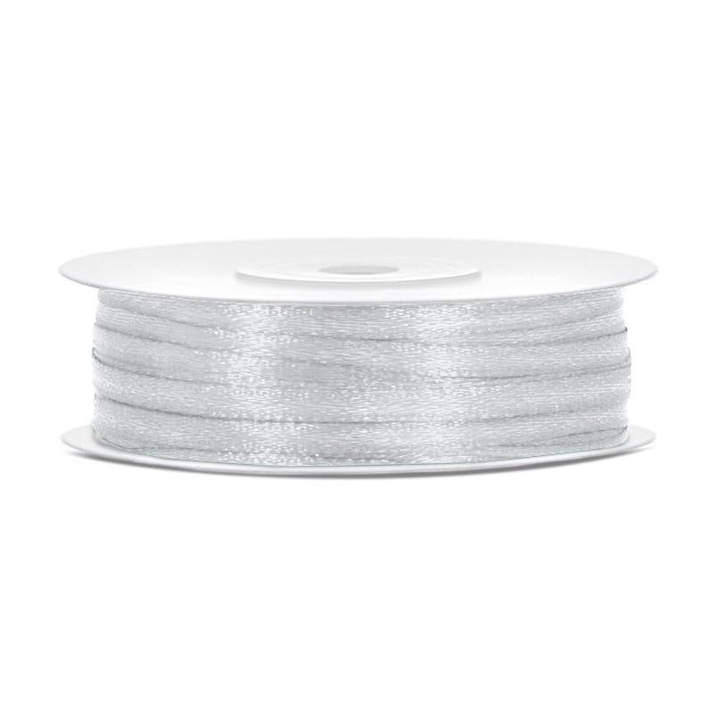 Billede af Satinbånd 3mm x 50m Sølv - Glat silkelook