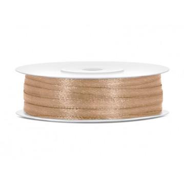 Satinbånd 3mm x 50m Guld - Glat silkelook
