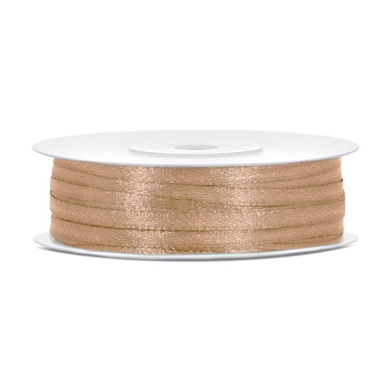 Billede af Satinbånd 3mm x 50m Guld - Glat silkelook