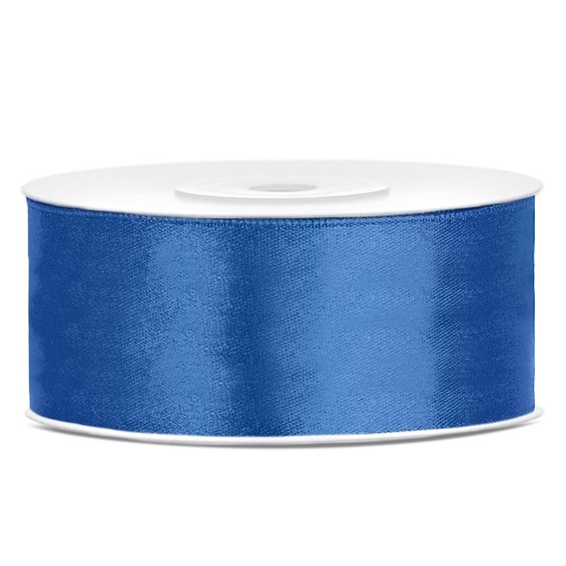 Satinbånd 25mm x 25m Royal blå - Glat silkelook