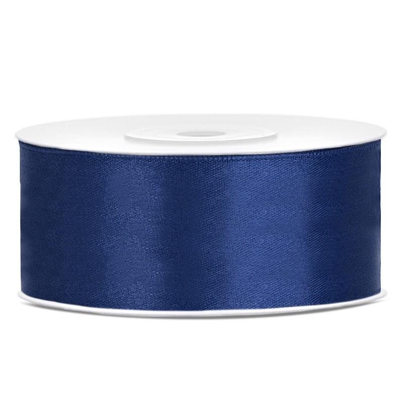 Satinbånd 25mm x 25m Mørke blå - Glat silkelook