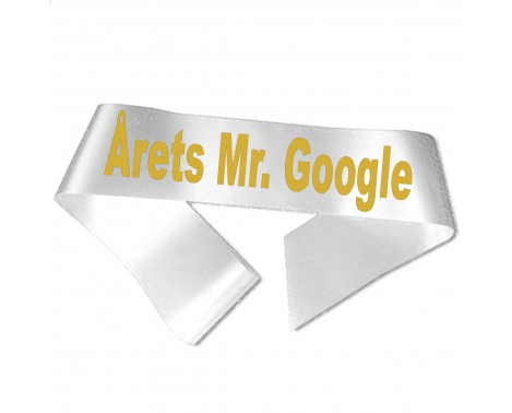 Årets Mr Google guld metallic tryk - Ordensbånd