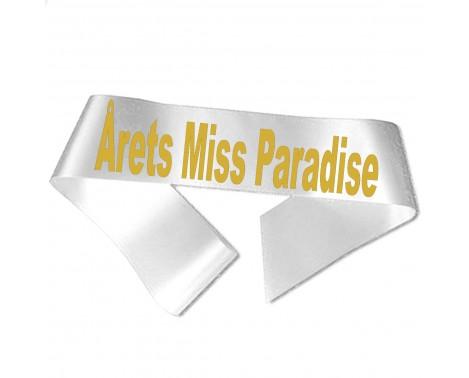 Årets Miss Paradise guld metallic tryk - Ordensbånd