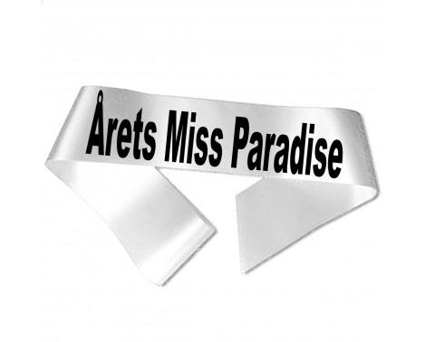 Årets Miss Paradise sort tryk - Ordensbånd