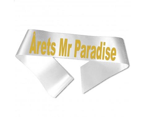 Årets Mr Paradise guld metallic tryk - Ordensbånd
