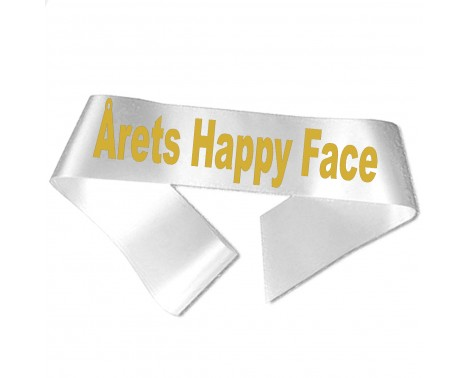 Årets Happy Face guld metallic tryk - Ordensbånd