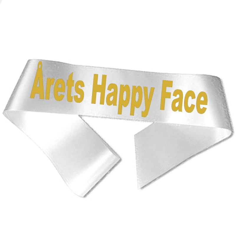 Image of   Årets Happy Face guld metallic tryk - Ordensbånd