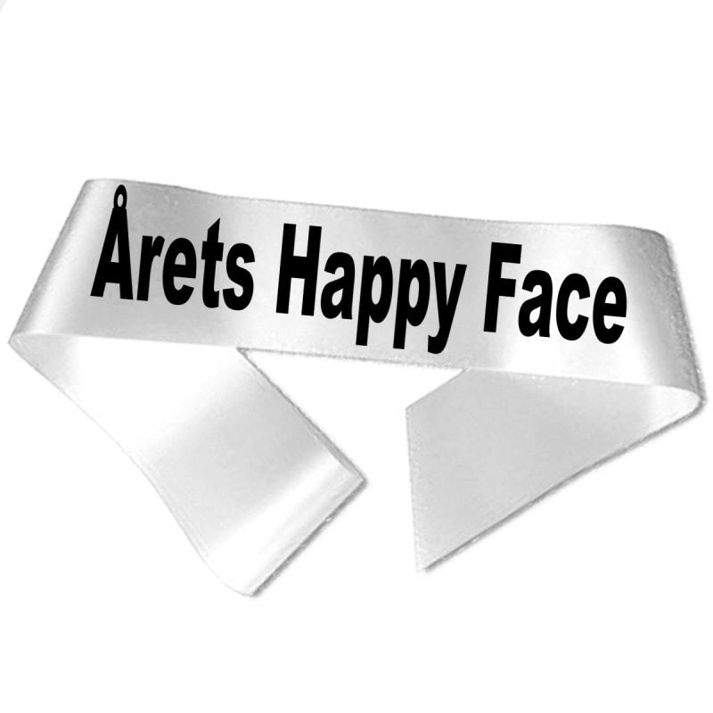 Image of   Årets Happy Face sort tryk - Ordensbånd