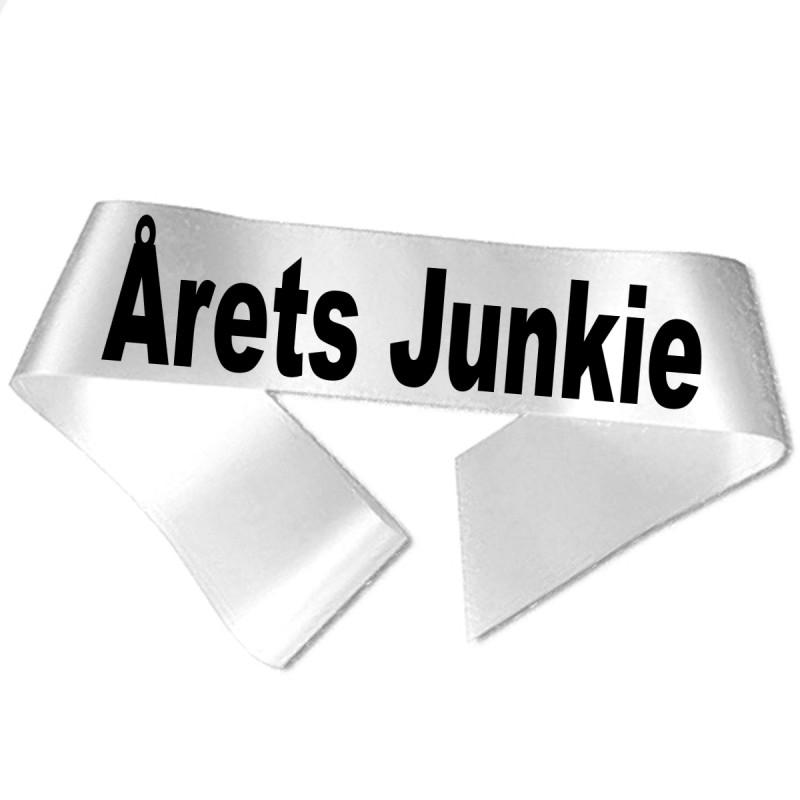 Image of   Årets Junkie sort tryk - Ordensbånd
