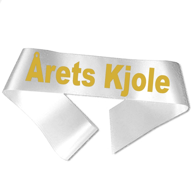 Årets Kjole guld metallic tryk - Ordensbånd
