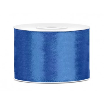 Satinbånd 50mm x 25m Royal blå - Glat silkelook
