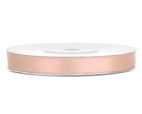 Satinbånd 6mm x 25m Lys fersken - Glat silkelook