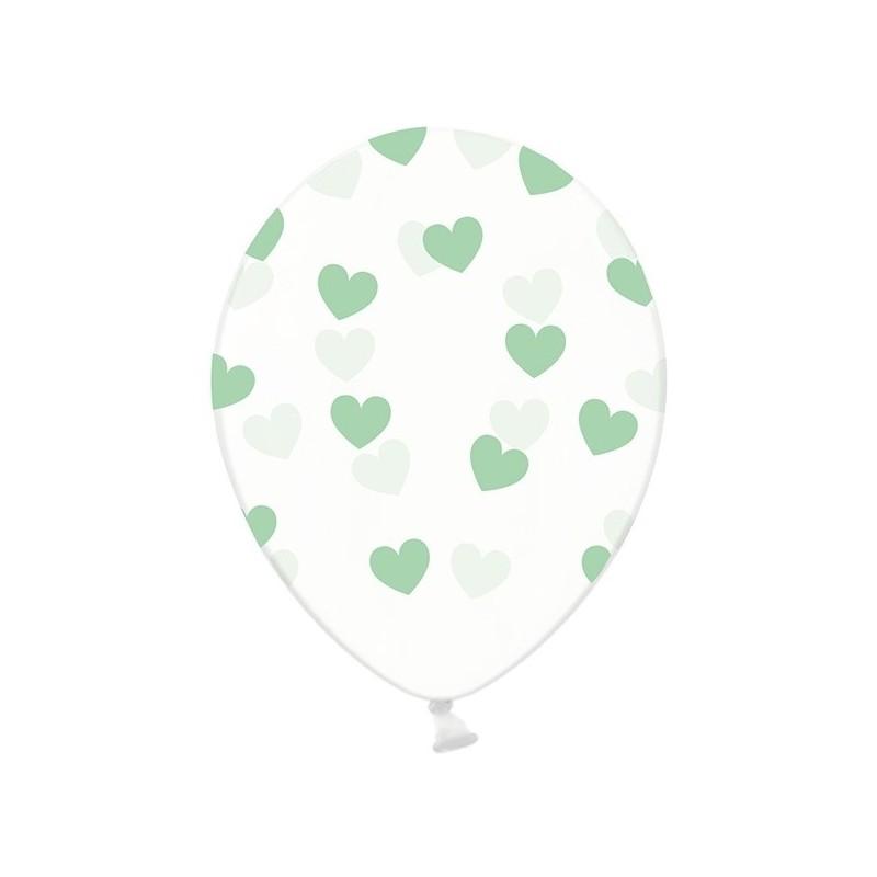 6 stk Krystal klar balloner med mint grøn hjerter