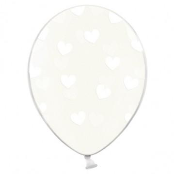6 stk Krystal klar balloner med hvide hjerter