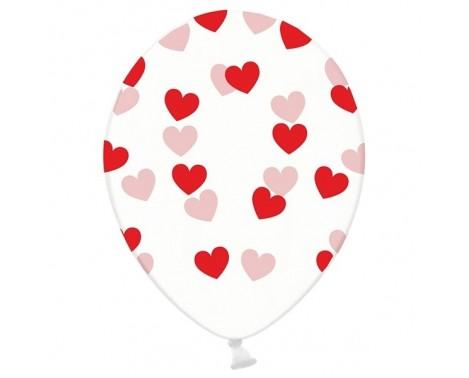 6 stk Krystal klar balloner med røde hjerter