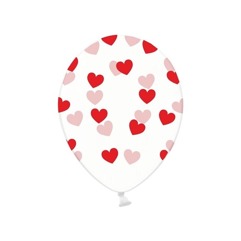 Billede af 6 stk Krystal klar balloner med røde hjerter