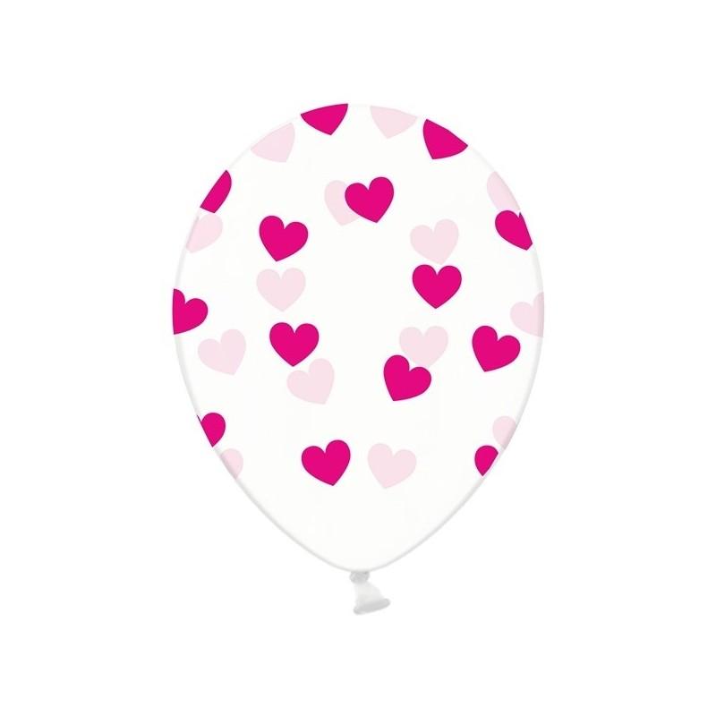 6 stk Krystal klar balloner med fuchsia hjerter
