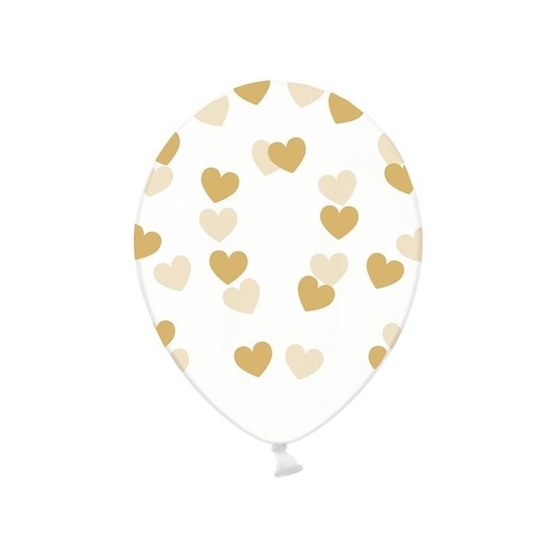6 stk Krystal klar balloner med guld hjerter