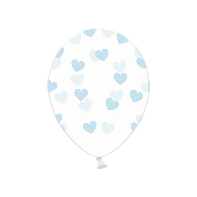 6 stk Krystal klar balloner med lyseblå hjerter